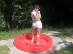 Sexy immature gets horny in the pool