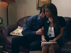 Melanie Rios sucking cock and getting pussy banged hardcore in office couch