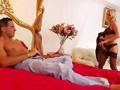 Sexy blonde in nylon stockings riding big cock hardcore