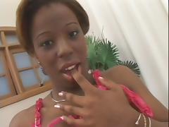 sexy ebony slut with a strap on sucks her man's white cock