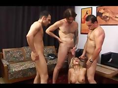 Italian hottie takes on three guys