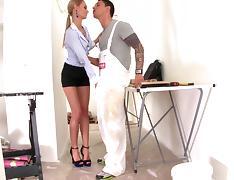 Amazing blonde Erica Fontes sucks a dick and licks balls