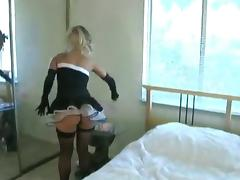 Aaliyah Love wearing stockings masturbates her snatch with a dildo