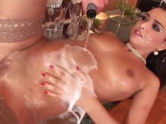 Porn star waiters gang bang brunette and serves her a healthy dose of champagne and facial cum shot