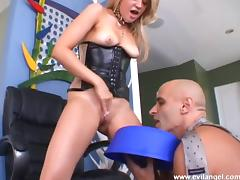 Blonde hussy licks a dude's butt before they fuck doggy style