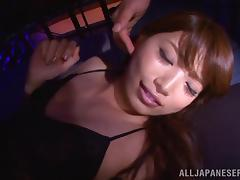Skinny slut in a jail cell squirts from fucking two guys