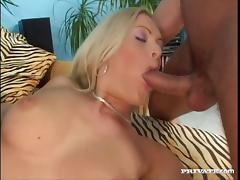 Facial cumshot for nasty blonde slut in a threesome