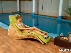 Skinny European porn girl loves sucking