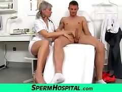A boy cum on tits of hot skinny milf doctor Beate