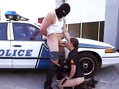 Gorgeous officer Molly Jane sucking big dick & swallows cum
