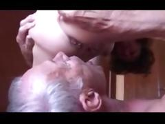 Old Cuckold eating anal cum