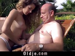 Beautiful Monique sucks grandpa's bulky old dong outdoor
