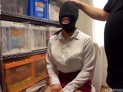 Asian slave slut is blindfolded, gagged and used by her master