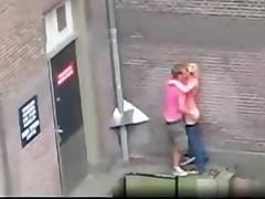 Dutch guy fucks a girl in public on the streets without a condom for everyone to see