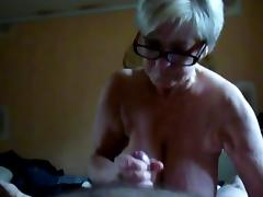 Granny with big tits suck and hand job.