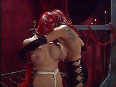 Dominatrix masturbates for her slaves