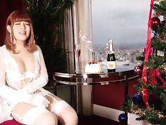 Lingerie clad sexy Asian tranny jerking off in her dining room