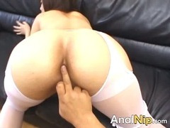 Asian bitch with huge toys in her anal