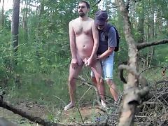 Caught masturbating in the woods