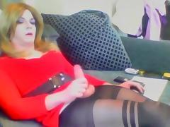 Crossdresser cumming on cam