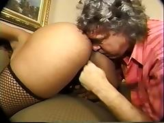 Old fart sniffs, licks black booty and masturbates