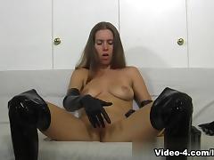 Lots Of Gloves Masturbation