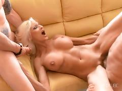 Hot Blonde Cougars Fucked by TWO COCKS