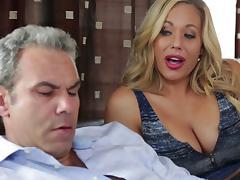 Olivia Austin seduces her mature hunk for a quick fuck