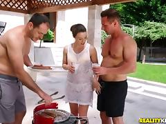 Wet pool threeway with Tiffany Doll, James Brossman and David Perry