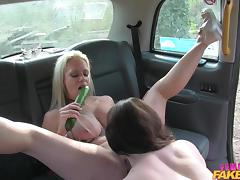 spread eagle in the back of a taxi
