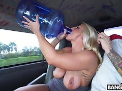 sexy blonde with big boobs jacks cock in bang bus