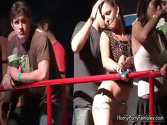 Horny babes going crazy flashing