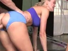 Two CFNM gym babes fucked hard