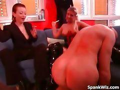 Naked bald dude licks mistress leather part3