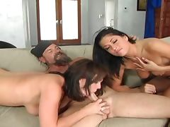 Brunette bitches blow dude's dong