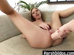 European blonde dildo fucking