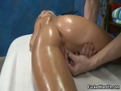 Sexy blonde babe gets her horny wet