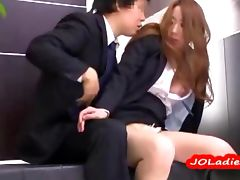 Hot Office Lady Fingered Giving Blowjob Riding On Guy Cock On The Bench At The Reception