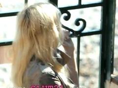 Incredible blondie in shoes fingering