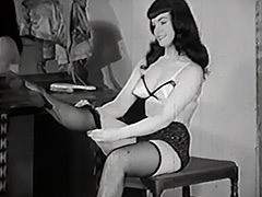 Raven Haired Beauty gets Dressed 1950