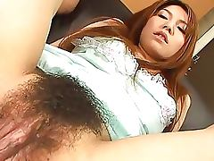 Ecstatic Asian Babe Lets Guys Finger and Pour Liquid In Her Hairy Pussy