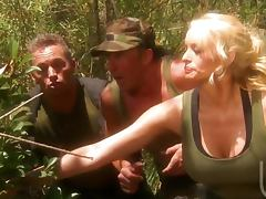 Military fuck threesome with slut