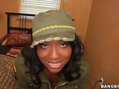Busty ebony babe visits her husband in jail and goes sexy