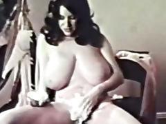 Classic Porn Busty Brunette Shaving