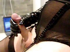 nylon gloves cock and cum