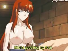 Hot anime nanny with huge boobs