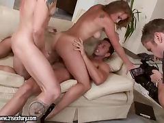 Beautiful Kathia Nobili fucks two guys and gets a facial cumshot