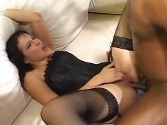 Black stud wreck a white slut's tight pussycunt