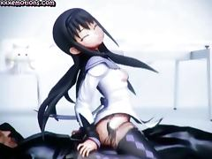 Animated with stockings riding cock