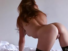 Amber Sym the gorgeous brown haired babe in hot solo video